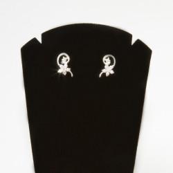 NM LHE009 silber Ohrringe Blumen mit kubisch Zirkonia