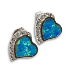 NM LOE001 silber Ohrringe Herz mit Opale