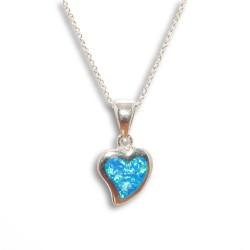 NM LON003 Anhänger Herz mit Opal + Kette